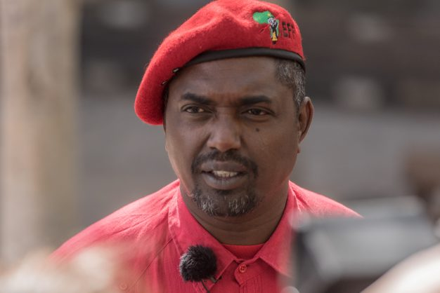 The EFF's General Secretary Godrich Gardee speaks to the media outside the Consitutional Court in Johannesburg on 5 September 2017. The court heard the EFF's bid to have President Jacob Zuma impeached. Picture: Yeshiel Panchia