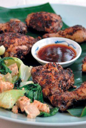 Filipino crispy chicken with bok choy