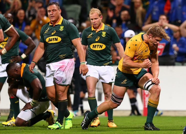 Wallabies flanker Ned Hanigan sums up the mood: the Springboks will be disappointed, the Australians happy.  Photo: Paul Kane/Getty Images.