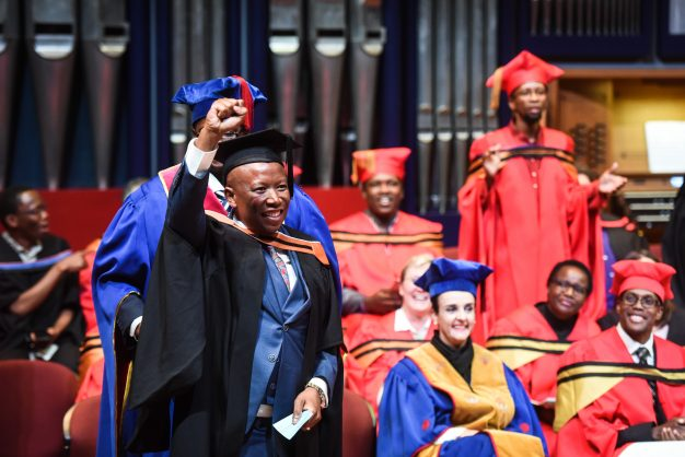 EFF leader Julius Malema is seen receiving his degree in Philosophy during the Unisa Graduation ceremony, 6 September 2017, Pretoria. Picture: Jacques Nelles
