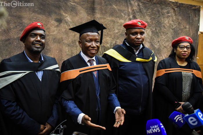 EFF leader Julius Malema speaks to media shortly after he recieved his degree in philosophy during the Unis graduation ceremony, 6 September 2017, Pretoria. Picture: Jacques Nelles