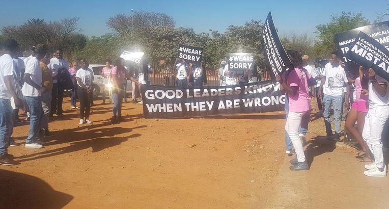 Students gather outside the court as former deputy higher education minister Mduduzi Manana appears for assault. PHOTO: Lindi Masinga/ANA