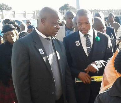 Former North West premier Supra Mahumapelo and NW 405 municipality mayor Kgotso Khumalo at the funeral of Paul Motshabi in Tshing, Ventersdorp on Sunday. Photo: ANA/Molaole Montsho