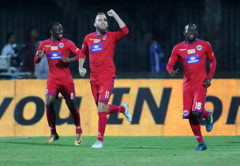 Jeremy Brockie  of Supersport United scores the opening goal during the MTN 8, Semi Final 2nd Leg match between Maritzburg United and SuperSport United at Harry Gwala Stadium. (Photo by Anesh Debiky/Gallo Images)