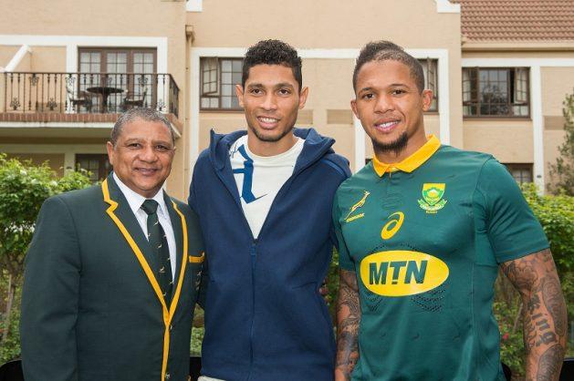 Wayde van Niekerk gave out the Springboks' jerseys on Friday. Photo: Johan Pretorius/Gallo Images.