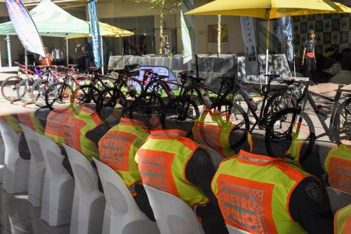 Metro police officers are seen at a shopping centre in Hatfield during the launch of a new TMPD bicycle unit, 13 September 2017, Pretoria. Picture: Jacques Nelles
