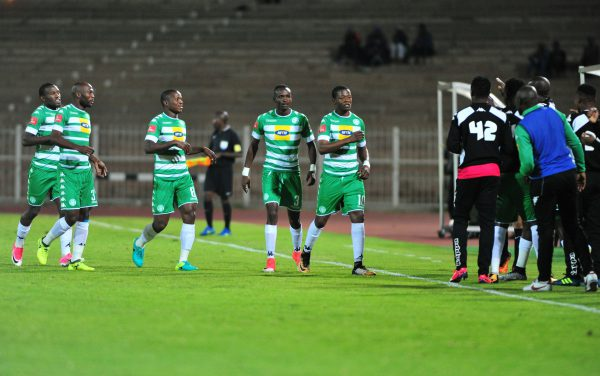 Ndumiso Mabena of Bloemfontein Celtic celebrate with his teammates after scoring a goal during the Absa Premiership match between Polokwane City and Bloemfontein Celtic at Old Peter Mokaba Stadium on September 12, 2017 in Polokwane, South Africa. (Photo by Philip Maeta/Gallo Images)