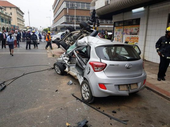 One person died and four others sustained various injuries when two cars collided at the corner of West Street and Prince Alfred Street in the Durban CBD on Sunday morning. Picture: Rescue Care