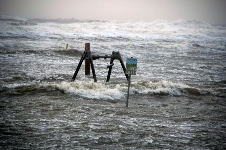 Waves pound the coast in St Peter-Ording, northern Germany, as windstorm Sebastian sweeps across the country