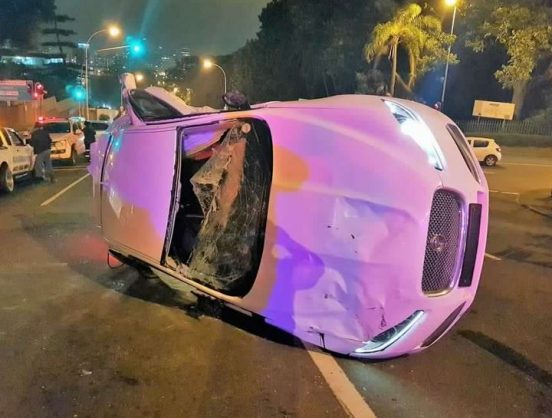 September 16 - Six people were injured when four cars collided on Sydenham Hill before Cowey Road in Berea, Durban on Friday night. Photo: Rescue Care