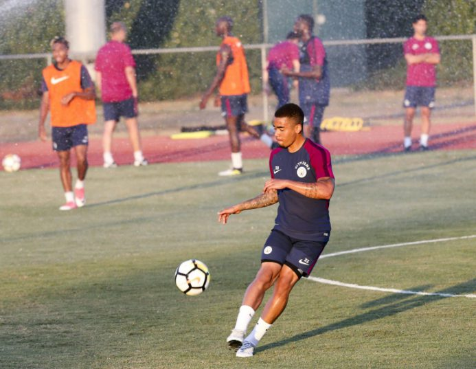 Manchester City's Gabriel Jesus participates in a training session at the StubHub Center in Carson, California, on July 25, 2017