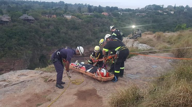 Rescuetech Search and Rescue members help lift the man to safety. PHOTO: South African Police Service Facebook page.