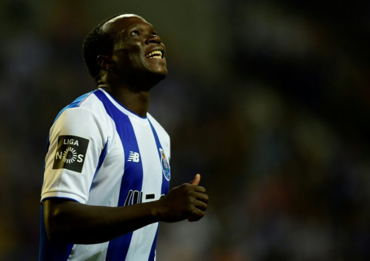 Porto's forward Vincent Aboubakar gestures during the Portuguese league football match against Portimonense at the Dragao stadium in Porto on September 22, 2017