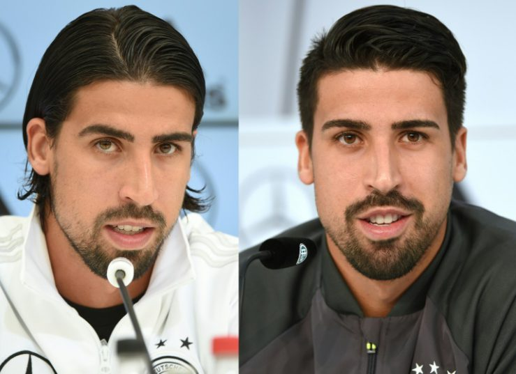 This combination of pictures created on October 12, 2017 shows Juventus player Sami Khedira during a press conference on May 31, 2016 (R) and on May 28, 2014 (L), with his hair in different styles