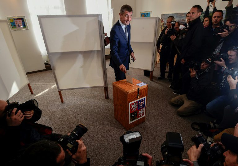 Czech billionaire Andrej Babis, chairman of the anti-migrant ANO movement, casts his ballot at a polling station near Prague in an election that could see the 'Czech Trump' take power.