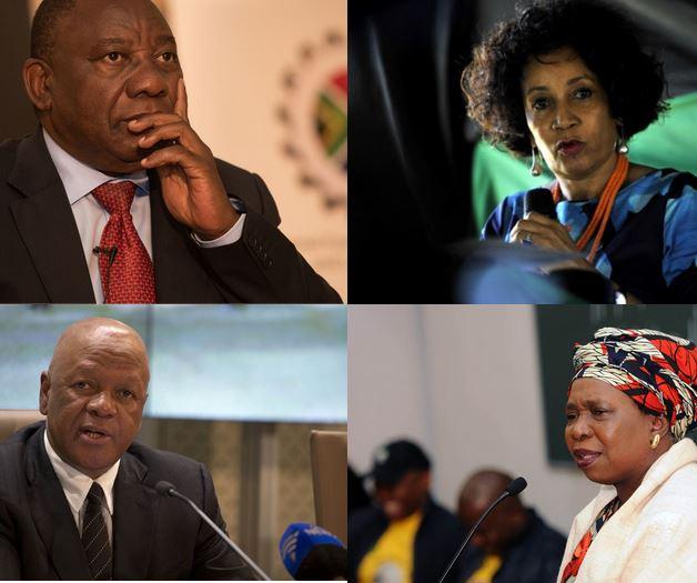 ANC presidential candidates Cyril Ramaphosa, Lindiwe Sisulu, Jeff Radebe and Nkosazana Dlamini - Zuma.