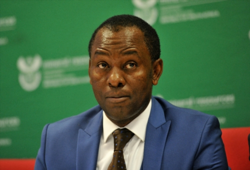 Mineral Resources Minister Mosebenzi Zwane addresses the media during the release of the 2016 health and safety statistics in the mining sector on January 19, 2017 in Randfontein, South Africa. (Photo by Gallo Images / Sowetan / Veli Nhlapo)