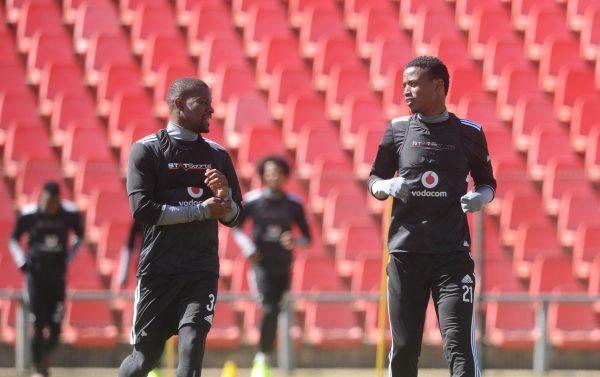 Ntsikelelo Nyauza and Thamsanqa Sangweni of Orlando Pirates  during the Orlando Pirates  Training. (Sydney Mahlangu /BackpagePix)