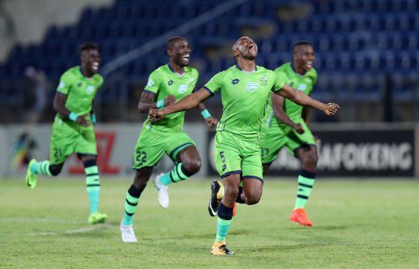 Platinum Stars players celebrates during 2017 Telkom Knockout match between Maritzburg United and Platinum Stars at Harry Gwala Stadium, Pietermaritzburg South Africa on 28 October 2017 ©Muzi Ntombela/BackpagePix
