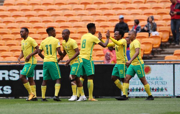 Percy Tau of South Africa (second right) celebrates goal with Bongani Zungu of South Africa during the 2018 World Cup qualifier football match between South Africa and Burkina Faso at Soccer City, Johannesburg on 07 October  2017 ©Gavin Barker/BackpagePix