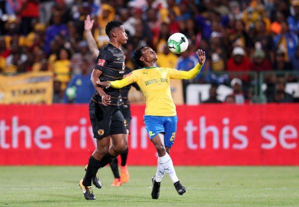 Percy Tau of Mamelodi Sundowns challenged by Siyabonga Ngezana of Kaizer Chiefs during the Absa Premiership 2017/18 match between Mamelodi Sundowns and Kaizer Chiefs at Loftus Versveld Stadium. (Muzi Ntombela/BackpagePix)