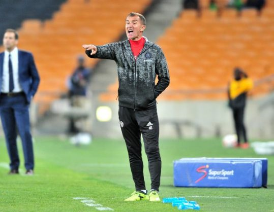 Milutin Sredojevic of Orlando Pirates during the Absa Premiership 2017/18 football match between Orlando Pirates and Platinum Stars at FNB Stadium. (Samuel Shivambu/BackpagePix)