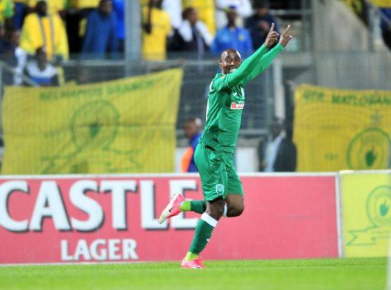 Siyabonga Nomvethe celebrates his goal during the Absa Premiership match between Mamelodi Sundowns and AmaZulu at Lucas Moripe Stadium. (Samuel Shivambu/BackpagePix)