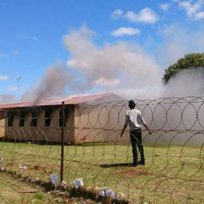 Phiri Secondary School was in flames on Tuesday. Photos: Provided