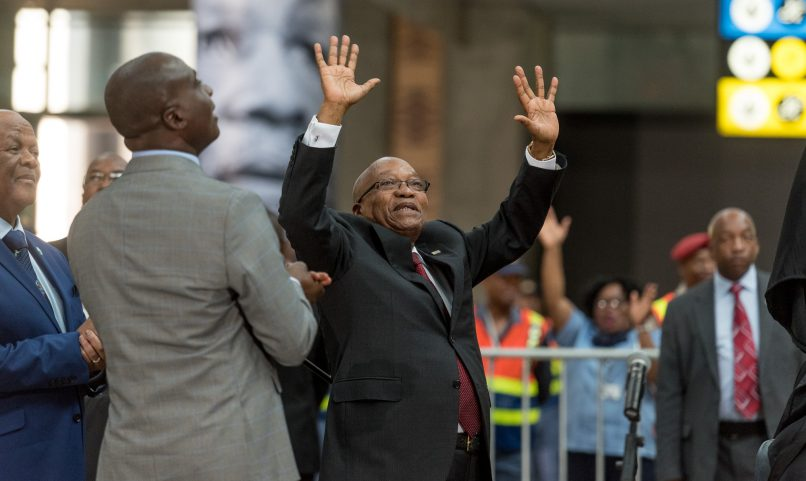 President Jacob Zuma waves at onlookers before the unveiling of a statue of OR Tambo in the International Arrivals terminal of OR Tambo Airport in Johannesburg on 19 October 2017. Today marked the unveiling of a statue in honour of the struggle icon by President Jacob Zuma. Picture: Yeshiel Panchia