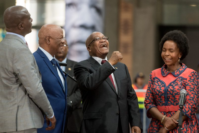 President Jacob Zuma laughs before the unveiling of a statue of OR Tambo in the International Arrivals terminal of OR Tambo Airport in Johannesburg on 19 October 2017. Today marked the unveiling of a statue in honour of the struggle icon by President Jacob Zuma. Picture: Yeshiel Panchia