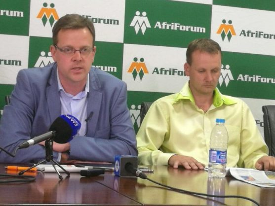 AfriForum deputy chief executive Ernst Roets with Gawie Stols, whose brother Kyle was murdered on Sunday at a farm in Jagersfontein, in Free State province. PHOTO: ANA