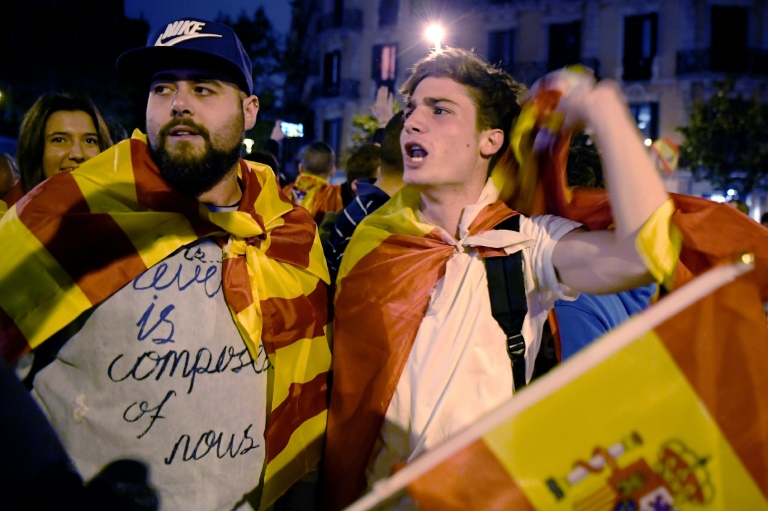 Protesters with Spanish flags staged a demonstration to defend a united Spain