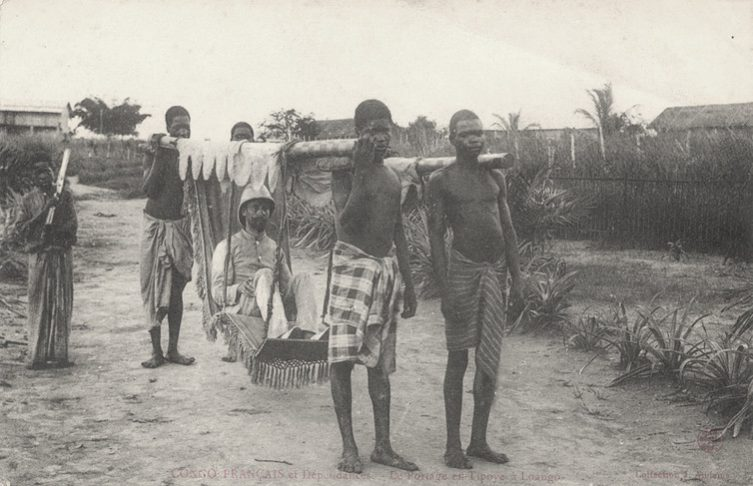 A controversial article in a respected academic journal recently made the argument for colonialism. Here, a man is carried by Congolese men in a photo from the early 20th century. Picture: CC BY