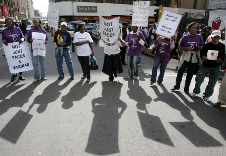 Anti-rape protesters at Jacob Zuma's 2006 rape trial in Johannesburg. Picture: EPA