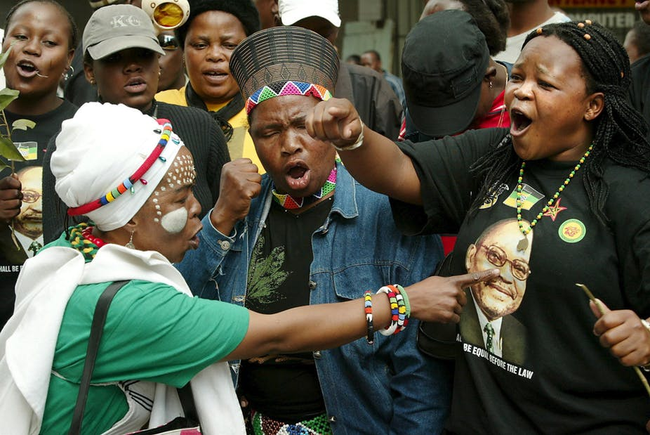 Supporters of President Jacob Zuma in full cry outside the court during his 2006 rape trial. Picture: EPA