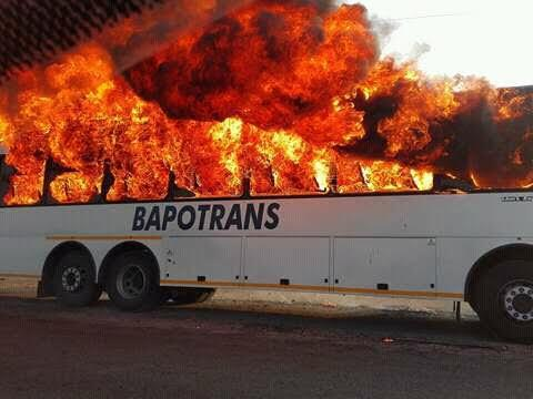 Bapo-Ba-Mogale Tribal Authority vehicles were torched in Bapong near Brits, following unemployed people's protest march at the palace. Photo: Facebook