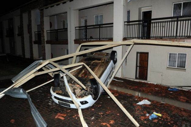 Damage from a storm that ripped through a townhouse complex near Jackal Creek Golf Estate in Roodepoort is seen 9 October 2017. Residents described terribly strong winds that lifted sections of the tiled roof, damaged carports and even flipped a car. Picture: Michel Bega