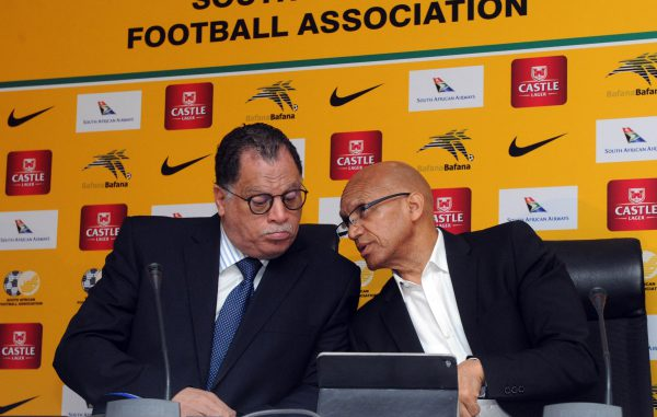 Dr Danny Jordaan Safa President and Denis Mumble Safa CEO during a press conference at Safa House (Sydney Mahlangu /BackpagePix)