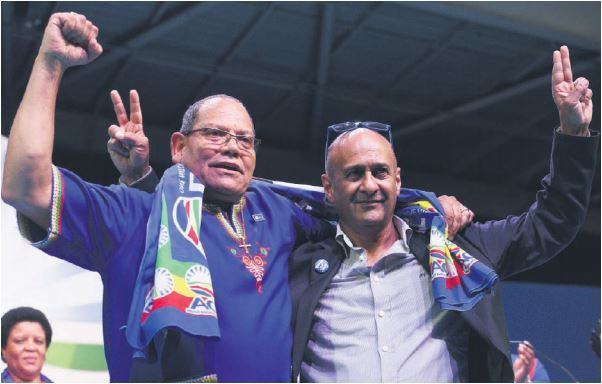 VICTORY WARRIORS. Democratic Alliance Gauteng leader John Moodey, left, celebrates with DA Member of Parliament Ghaleb Cachalia after he was re-elected to his position on Saturday. Picture: Nigel Sibanda
