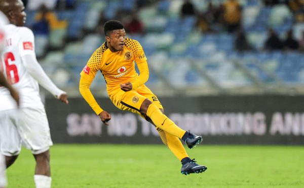 Dumisani Zuma of Kaizer Chiefs has a shot at goal during the Absa Premiership game between Kaizer Chiefs and Free State Stars at Moses Mabhida Stadium (Gerhard Duraan/BackpagePix)