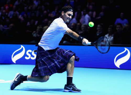 Great Scot: Roger Federer. Photo: Clive Brunskill/Getty Images for Andy Murray Live.