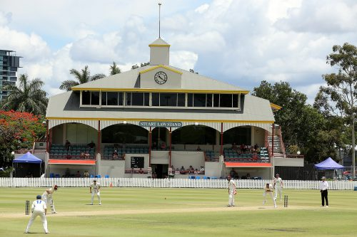 The Stuart Law stand at the Allan Border Cricket Ground had to be evaucated. Photo: Chris Hyde/Getty Images.
