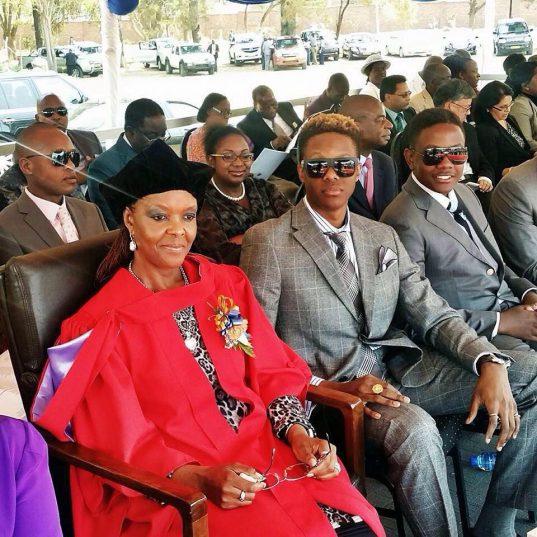 Grace, Robert Junior and Chatunga Mugabe. Image: Facebook