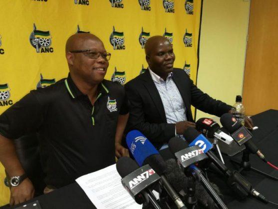 ANC KZN secretary Super Zuma and spokesperson Mdumiseni Ntuli during a press briefing in Durban on Wednesday. PHOTO: ANA Reporter