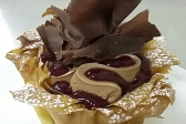 Recipe: Chocolate mousse phyllo pastry cups with raspberry cremeux