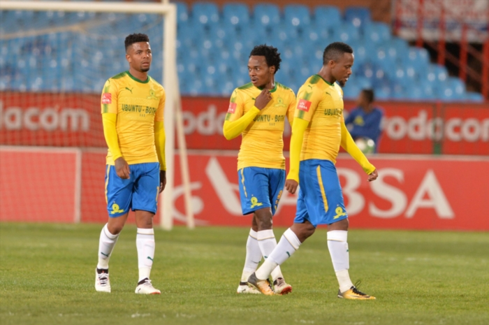George Lebese, Percy Tau and Thokozani Sekotlong during the Absa Premiership match between Mamelodi Sundowns and Polokwane City at Loftus Versfeld Stadium on August 22, 2017 in Pretoria, South Africa. (Photo by Lefty Shivambu/Gallo Images)