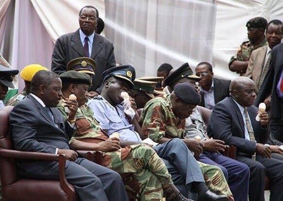 Zimbabwean Army Generals enjoying Grace ice cream. Facebook.