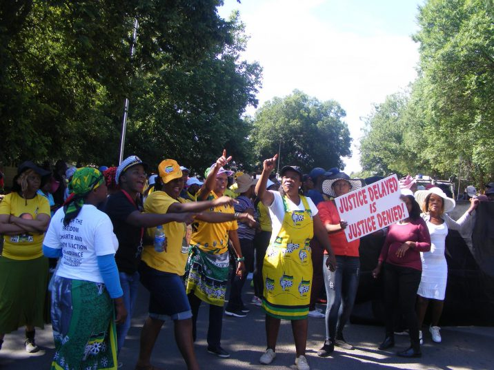 A group of ANC members outside the Bronkhorstspruit Magistrates Court in Gauteng on Thursday.
