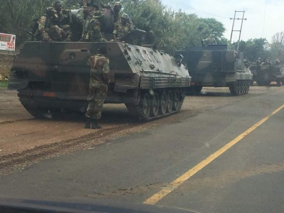 Army tanks have reportedly been seen heading towards Zimbabwe's capital city, Harare, on Tuesday, heightening fears of a possible army take over. PHOTO: Supplied