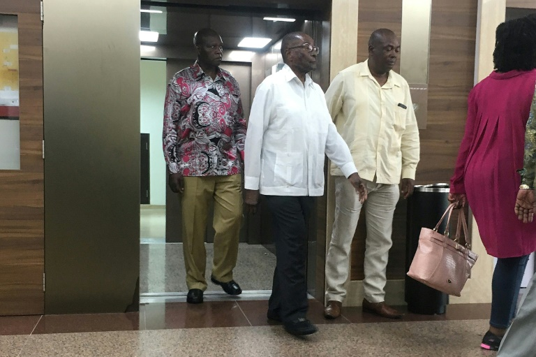 Zimbabwe's former president Robert Mugabe was seen leaving a lift in Gleneagles Hospital in downtown Singapore around midday